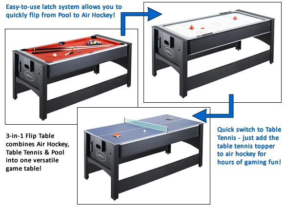 The Harvil 6 Foot 3 In 1 Flip Game Table Has Everything You Need To Enjoy A  Game Of Pool, Air Hockey Or Table Tennis! This Versatile Game Table  Features A ...